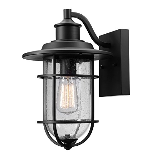 - Globe Electric 44094 Turner 1-Light Indoor/Outdoor Wall Sconce, Black with Seeded Glass Shade,