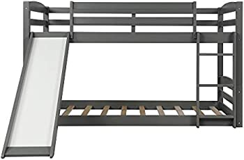 Twin Over Twin Low Bunk Bed with Slide and Ladder