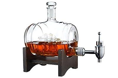 The Wine Savant Barrel Decanter, Drink Dispenser for Wine, Whiskey, Brandy, Tequila, Bourbon, Scotch, Rum and Liquor or Spirits 1000ml