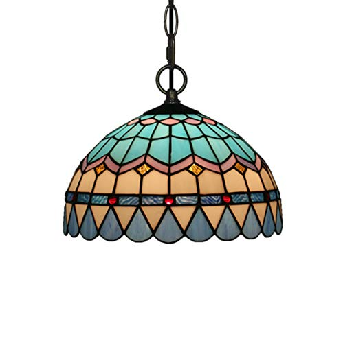 Tiffany Style Pendant Ceiling Light in Blue Stained Glass Dining Room Corridor Art Chandelier for Bar Cafe Hallway Hanging Fixture Lighting,110V-220V,E27,B,25cm