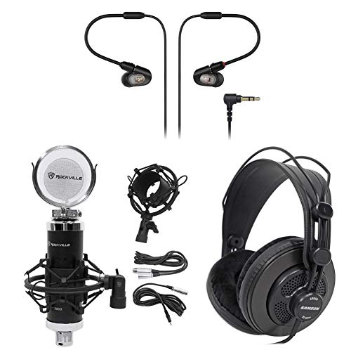- Audio Technica ATH-E50 Pro In-Ear Monitor Earbuds+Studio Mic+Mount+Headphones