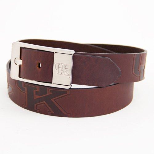 Kentucky Brown Leather Brandished Belt - 36 Waist - Bullet Logo Belt Buckle