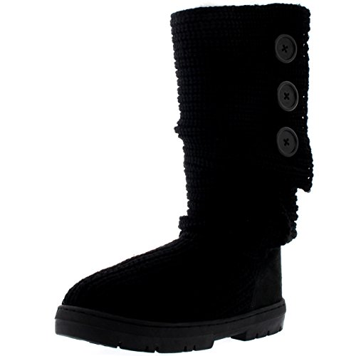 Womens Snow Boot Nylon Short Winter Snow Rain Warm Waterproof Boots - 7 - BLK38 EA0343 (Booty Wholesale Shorts)