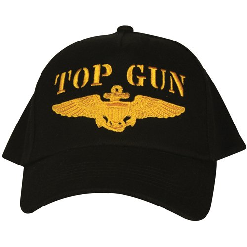 Black US Navy Top Gun Embroidered Ball Cap - Adjustable Hat