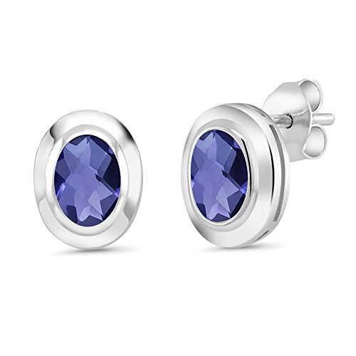 1.30 Ct Oval Checkerboard 7x5mm Blue Iolite 925 Sterling Silver Stud Earrings