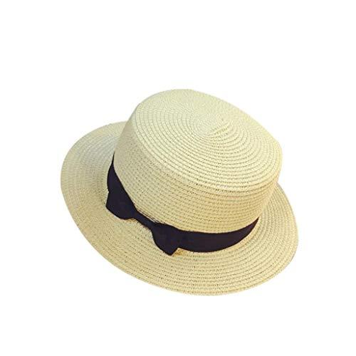 Pwc Bow (HYIRI Unisex Trilby Gangster Cap Beach Sun Straw Hat Bow Tie Band Sunhat)