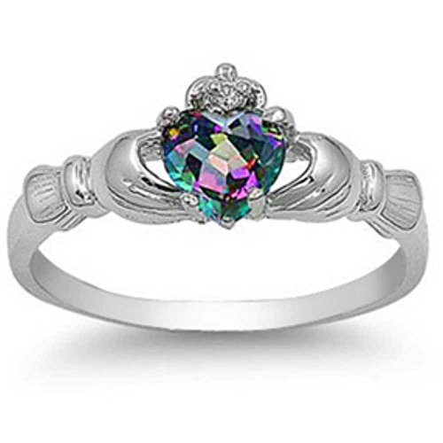 Sterling Silver FIRE Simulated Rainbow Topaz Mystic HEART Royal Claddagh Irish Ring 4-12 & Half sizes (6.5)