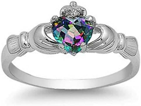 Sterling Silver FIRE Simulated Rainbow Topaz Mystic HEART Royal Claddagh Irish Ring 4-12 & Half sizes