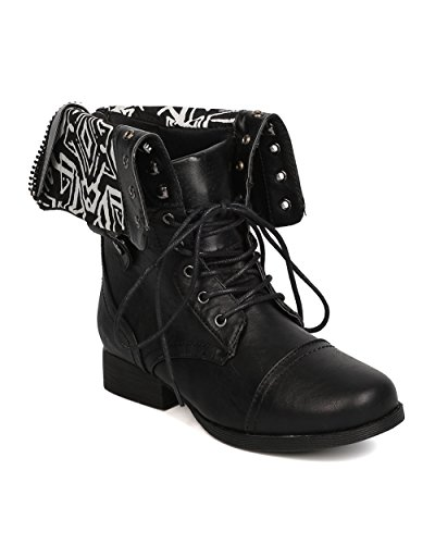 [Women Leatherette Tribal Combat Boot - Casual, Biker, Costume - Cuffed Military Boot - GC76 By Wild Diva - Black (Size:] (Combat Costumes Women)