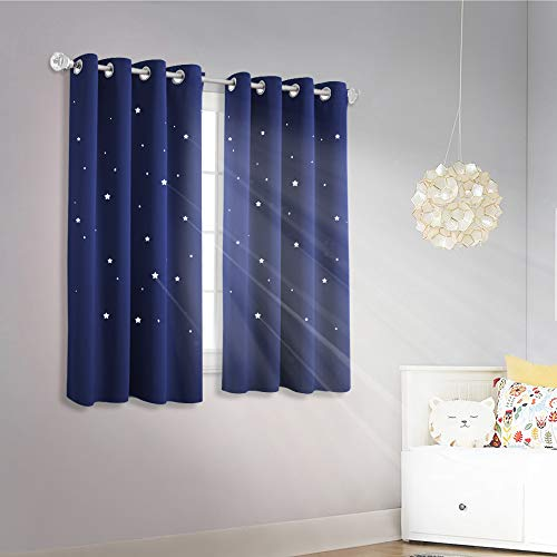 NICETOWN Romantic Starry Sky Curtains - Space Inspired Night Sky Twinkle Star Kids Room Draperies, Creative Blackout Window Drapes for Teenagers Bedroom (Set of 2, 52 x 63 Inch, Royal Navy Blue)