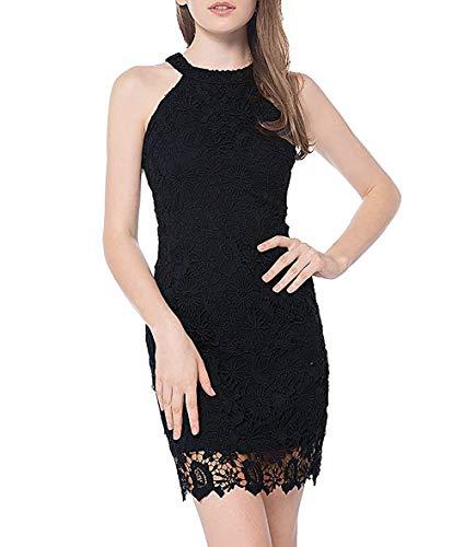 Women's Casual Sleeveless Halter Neck Party Summer Lace Mini Dress (Black, ()