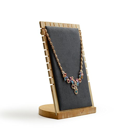 Oirlv Solid Wood Jewelry Display Stand Necklace Showcase Holder Pendant,Long Chain handing Organizerr (13-bit necklace board gray) - Pendant Necklace Display Stand