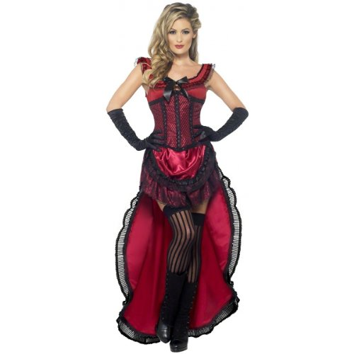 Smiffy's Women's Western Authentic Brothel Babe Costume, Dress and Corset, Western, Serious Fun, Size 14-16, 45233