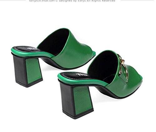 Tête Mode Talons Et Mode Carrée Femmes Plates Sandales Pantoufles B couleur Sandales Sandales B Pantoufles Sandales Poissons Sandales Taille Chaussures Femmes Sandales À Et 38 Épais De Et Pour q0Pn0AxwO