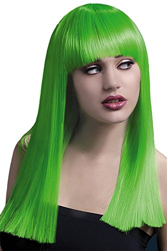 [Fever Women's Neon Green Alexia Wig with Fringe] (Neon Green Wigs)