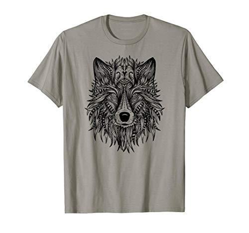 (Mandala Wolf Tattoo Art Wolves Lover Shirt Girls Women)