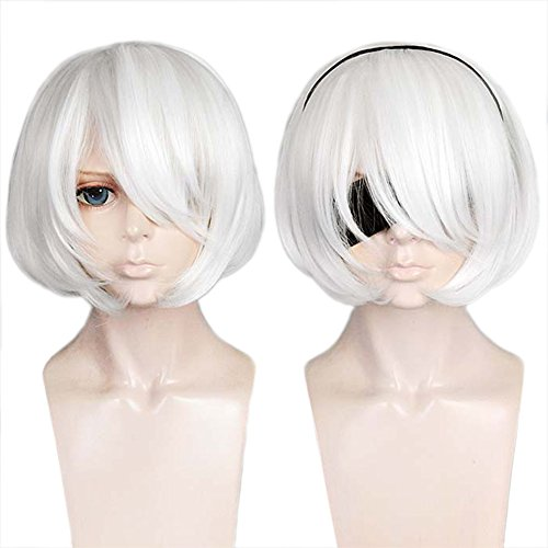 Anogol Hair Cap+ Short Bob Pure White Cosplay Wig Costume Hair For Party