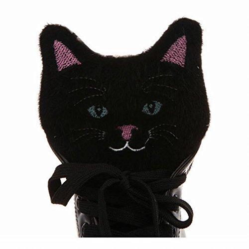 Carolbar Mujeres Comfort Lace Up Cute Lovely Kitten Pattern Zapatillas De Moda Negro
