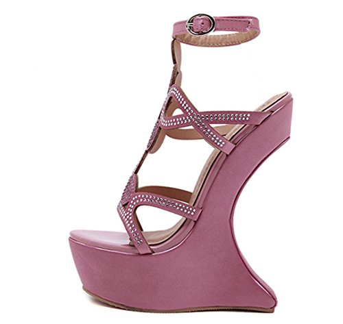 HETAO Personality Womens Sandals Rhinestones Muffled Open Toe Flowers Hollow Ladies High Heel Platform Party Wedding Peep Toe Wedge Shoes Size Girl's Gift Pink Wh2VCg
