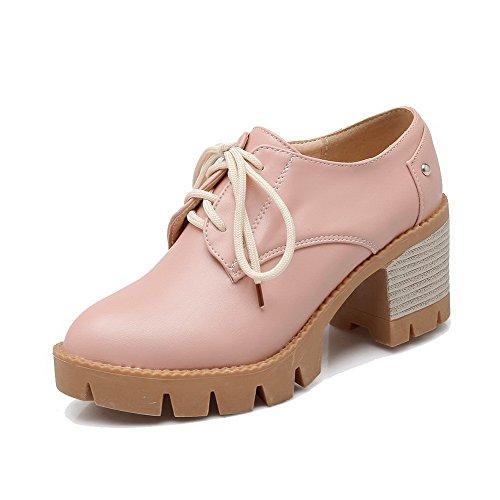 Amoonyfashion Kvinnor Pu Rund Tå Kattunge-klackar Slip-fasta Pumpar-shoes Rosa