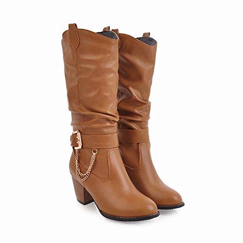 Charm Foot Womens Western Fibbia Pesante Alto Tacco Medio Polpaccio Marrone