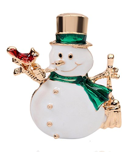 Enamel SNOWMAN with Red Bird Brooch Pin with Gold Enamel Top Hat.Beautiful Pin to Wear on Your Lapel!
