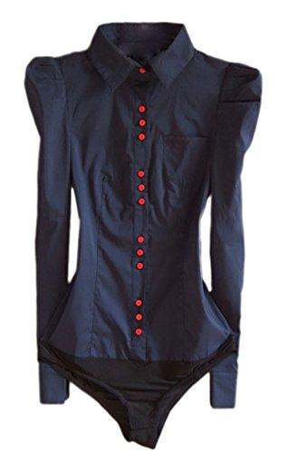 Soojun Women's Long Sleeve Easy Care Work Bodysuit Shirt Size US 0 Style 1 (Color Navy)