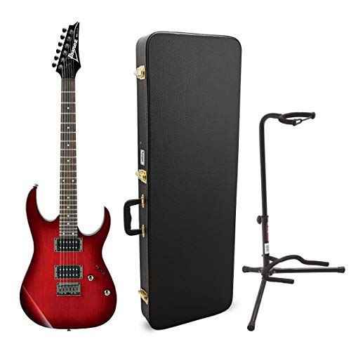 Ibanez 6-String Solid Body Electric Guitar (RG421) Bundled with Knox Electric Guitar Case and Stand (3 Items)