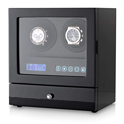 - 2+2 Watch Winder with LED Backlight, 2 Watches and Jewelry Storage Drawer, LCD Display and Remote Control (Black + Black Leather)