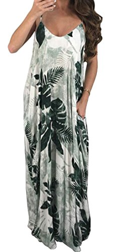 Dress Domple Long Women's Neck Spaghetti V Floral Print Green Sleeveless Loose Strap Beach fCPpqF1fw