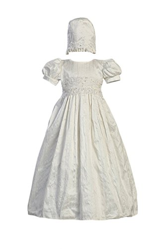 White Silk Christening Baptism Gown with Laced Bodice and Matching Hat - S (3-6 Month) (Silk Christening Gown)