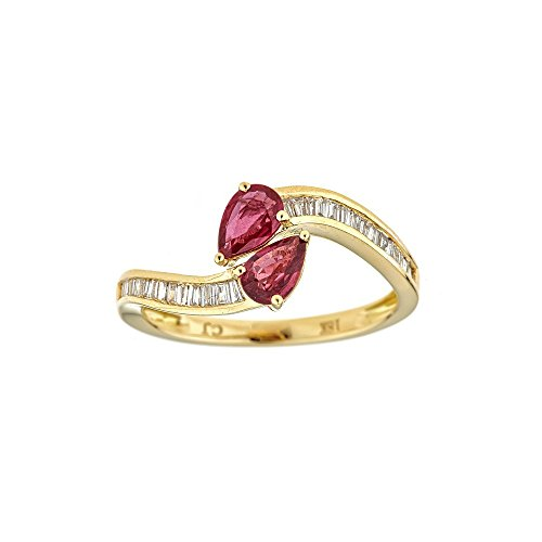 Gin and Grace 18k Yellow Gold Pear-cut Mozambique Ruby and 1/4ct TDW Diamond Ring (G-H, I1-I2)