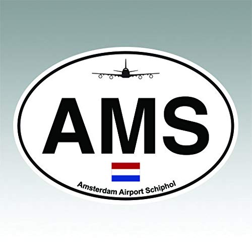 (RDW Amsterdam Airport Schiphol Euro Oval Sticker Premium Decal Die Cut AMS Netherlands)