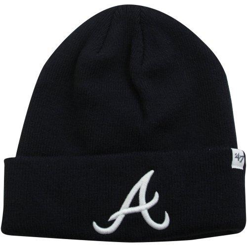 '47 MLB Atlanta Braves Raised Cuff Knit Beanie, One Size, Navy