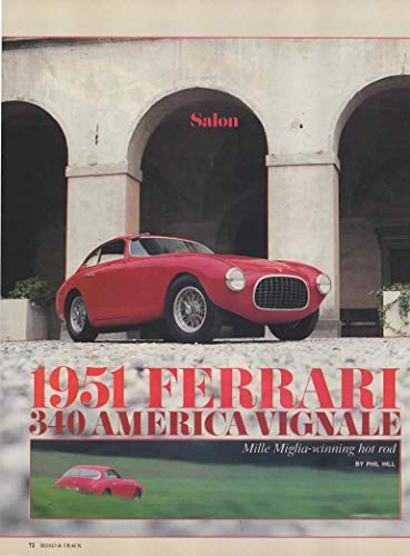 Magazine Print Article: 1951 Ferrari 340 America Vignale, Owner Mike Sheehan,