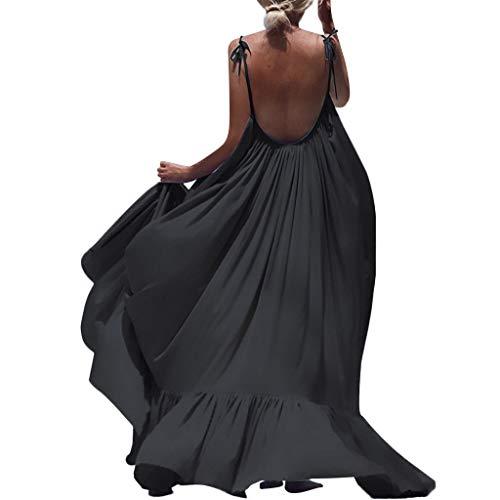 ZQISHMAO 2019 Women Boho Maxi Dress Sexy Backless Sleeveless Beach Party Flowy Summer Long Sun Dress Plus Size (Black, XXL)