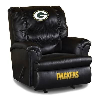 Black Leatherette Cushion Swivel Recliner (Imperial Officially Licensed NFL Furniture: Big Daddy Leather Swivel Rocker Recliner, Green Bay)