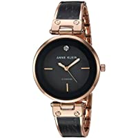 Anne Klein AK/2512NVGB Women's Diamond-Accented Dial Bangle Watch (Grey / Rose Gold)