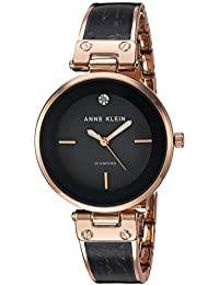 Women's AK/2512GYRG Diamond-Accented Rose Gold-Tone and Grey Marbleized Bangle Watch