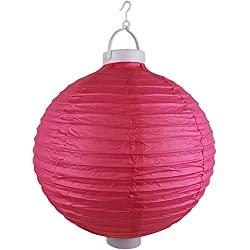 "Just Artifacts 12"" Round Battery Powered LED Chinese/Japanese Decorative Paper Lantern (Color: Magenta)"