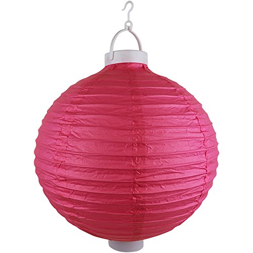 Just-Artifacts-12-Round-Battery-Powered-LED-ChineseJapanese-Decorative-Paper-Lantern-Color-Magenta