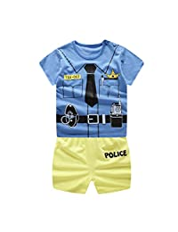 Lavany 2pc Baby Outfits Boys Girl Printed Short Sleeve T Shirt Shorts Clothes Set