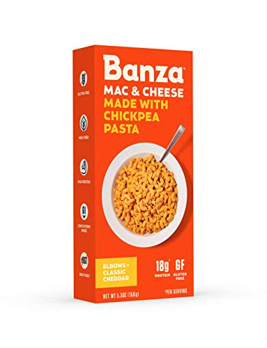 Banza Chickpea Pasta  High Protein Gluten Free Healthy Pasta  Mac & Cheese (Pack of 6) (Elbows with Classic Cheddar)