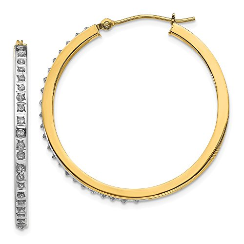 14k Yellow Gold In Out Diamond Fascination Round Hinged Hoop Earrings .01 cttw. 35mm x 2mm