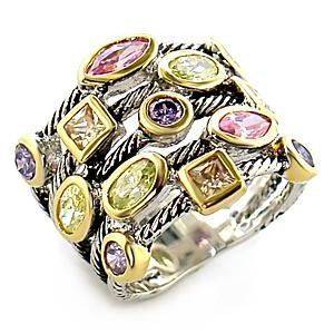 Two Tone Multicolor and Multi Shape Cz Cable Cocktail Ring, Size 5,6,7,8,9,10 (5)