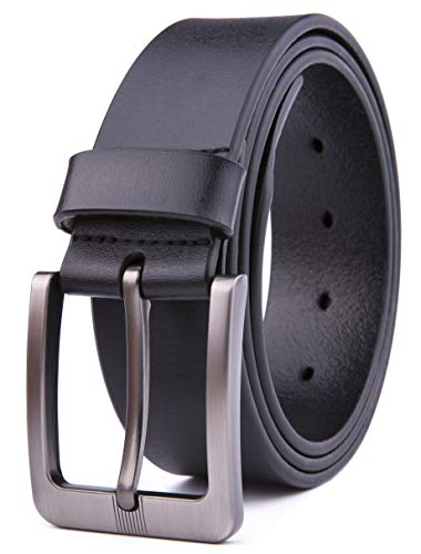 Men Genuine Leather Belts, Fashion & Classic Design for Casual and Dress (34, Black #3)