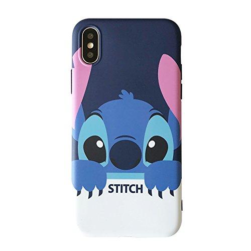 (Ultra Slim Soft TPU Blue Stitch Case for iPhone X iPhoneX 2017 Shockproof Shock Proof Sleek Slim Fit Smooth Comfortable Disney Cartoon Cute Chic Lovely High Fashion Stylish Cool Girls Women Teens Kids)