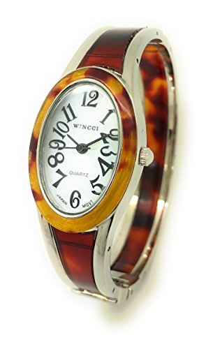 Ladies Silver Case Oval Acrylic Bangle Cuff Fashion Watch Pearl Dial Wincci (tortoise shell) Oval Tortoise Shell