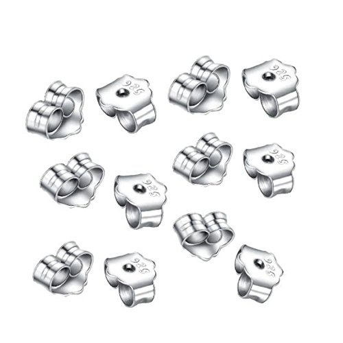 Sterling Silver Butterfly Toggle (10pcs x Authentic Sterling Silver Butterfly Earring Safety Back Earnut 6x5mm #ss176)