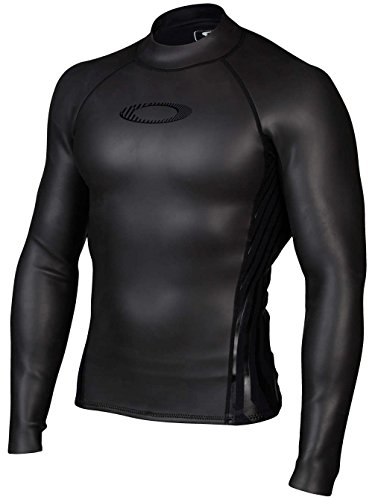 Oakley Mens Surface Tension Long-Sleeve Shirt, Jet Black, X-Large by